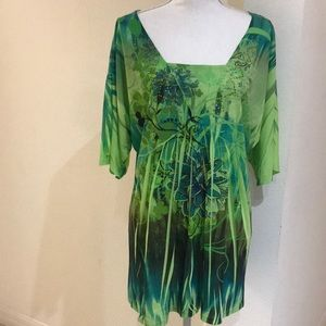 Green Rhinestone Flower Blouse Size 2X